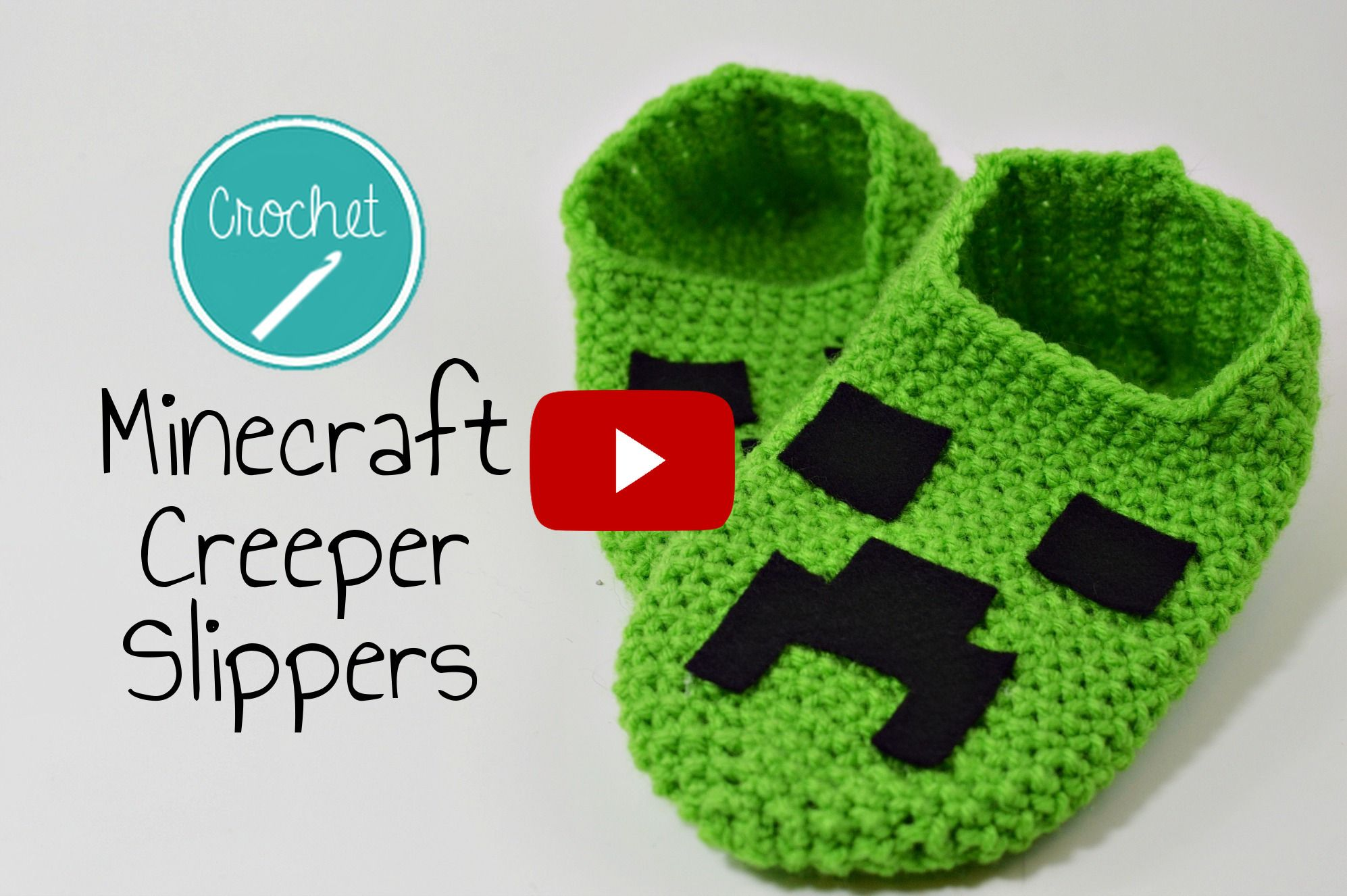 Crochet Minecraft Creeper Slippers YouTube Video Tutorial with ...