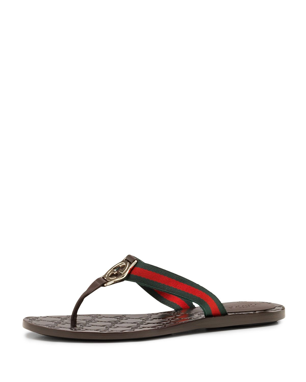 a079e3431ebd9 Gucci GG Web Thong Sandal
