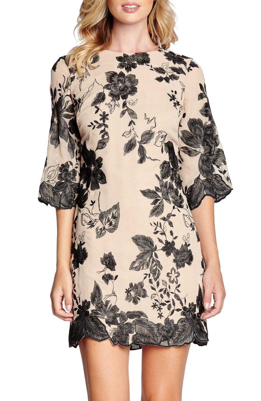 Paige\' Metallic Embroidered Chiffon Shift Dress | Products ...