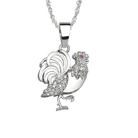 Lucky Rooster pendant in 925 sterling silver. AME Jewellery