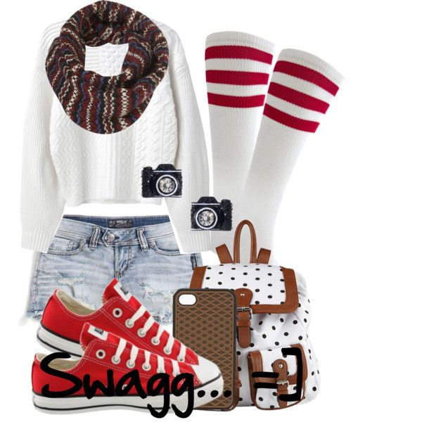 A fashion look from October 2012 featuring long cable knit sweater, low rise shorts and white striped socks. Browse and shop related looks.