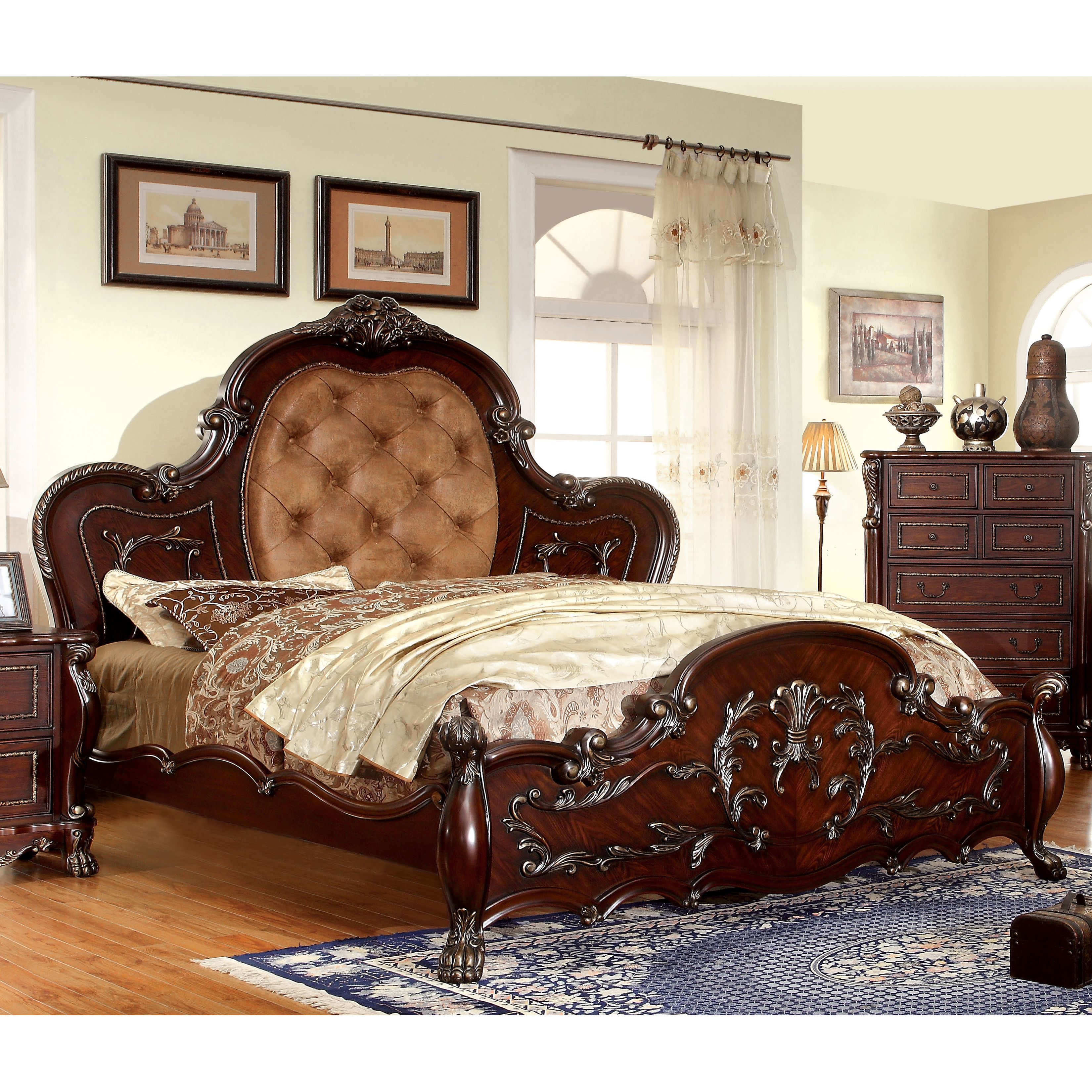 Furniture of America Nuff Traditional Cherry Faux Leather