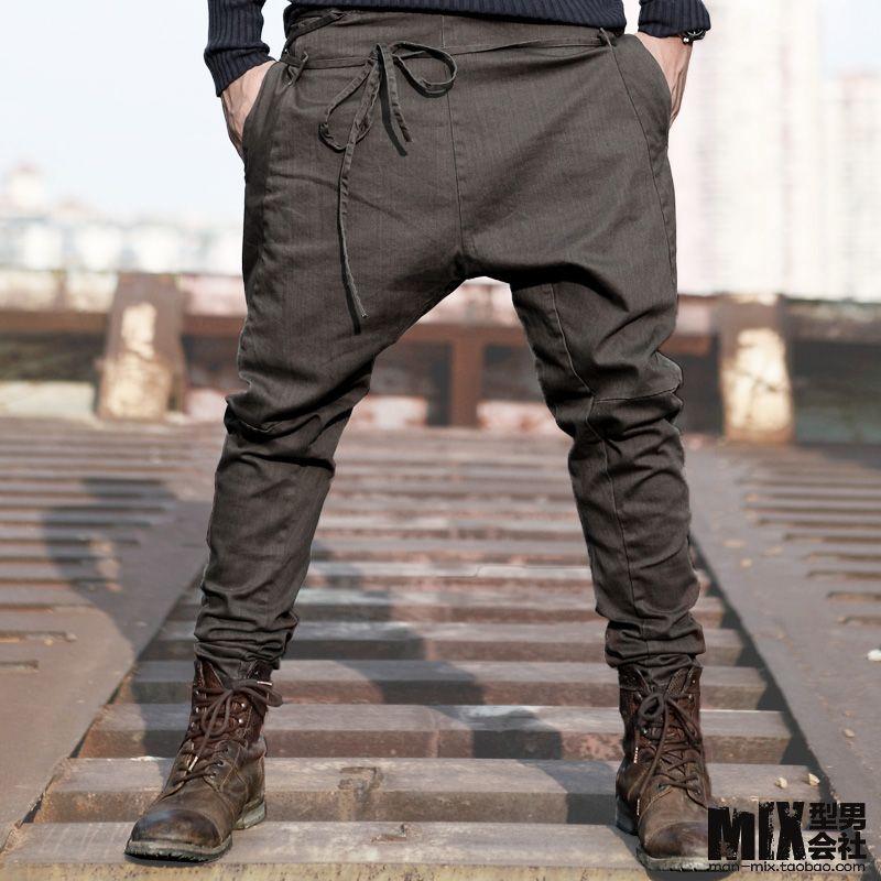 Autumn unique waist rope skinny pants male fashion Men casual ...