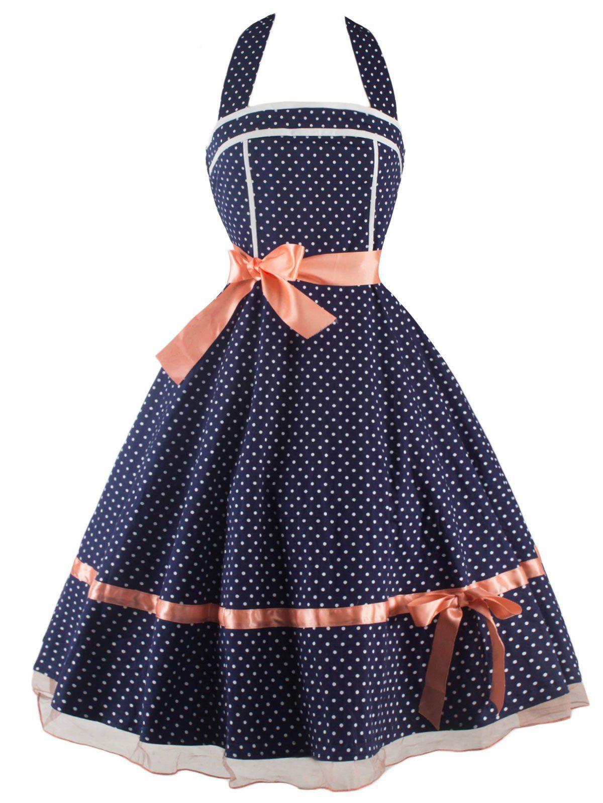 $22.04 Polka Dot Vestido Halter Vintage | artesanato | Pinterest ...