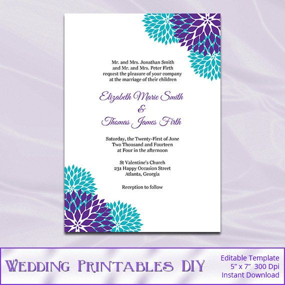 Purple Teal Wedding Invitation Template Diy Garden Floral Shower - Wedding invitation templates: editable wedding invitation templates