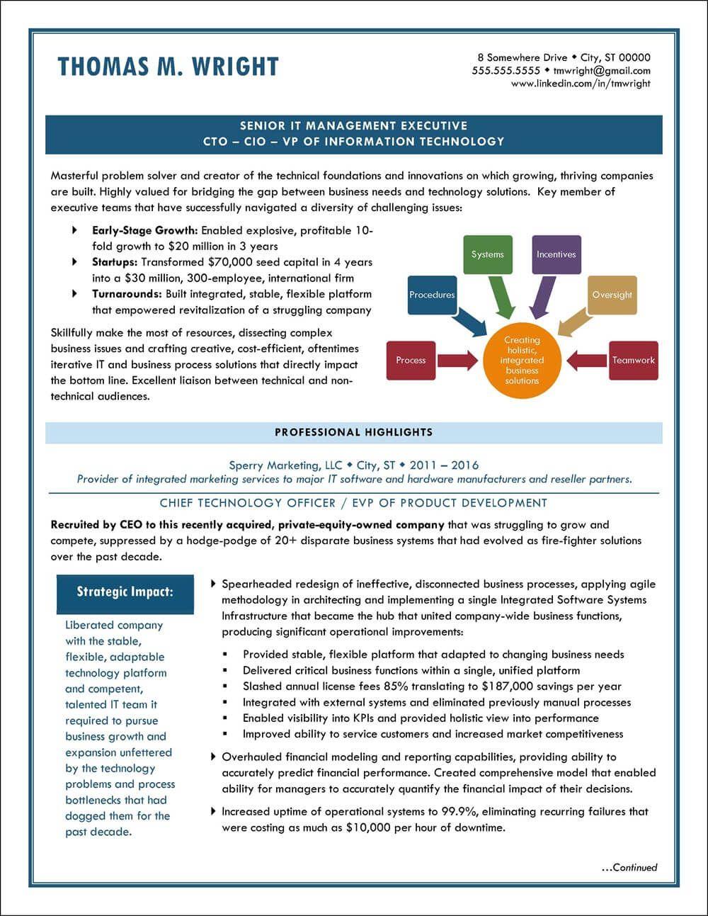 Example Executive Resume - CTO/CIO- pg1 | Resume Examples | Pinterest