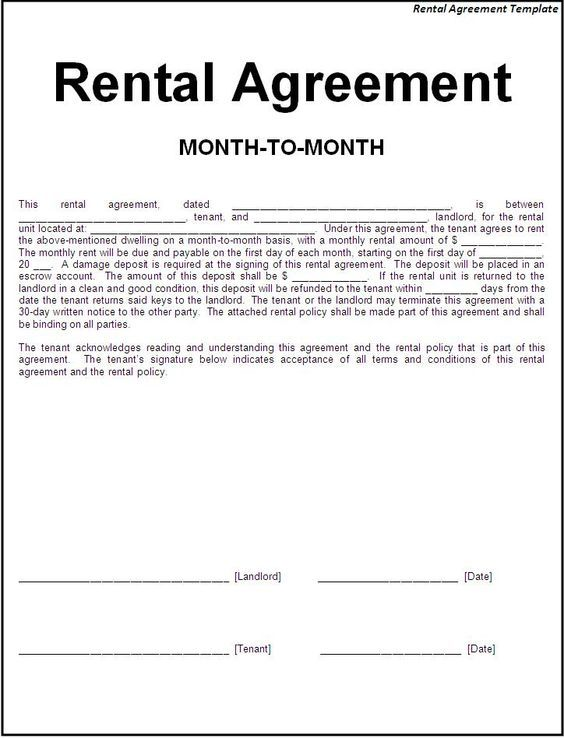 Printable Sample Simple Room Rental Agreement Form  Rental