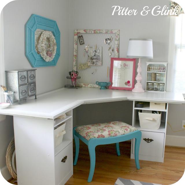 Pitterandglink Craft Room Corner Desk, Corner Craft Desk
