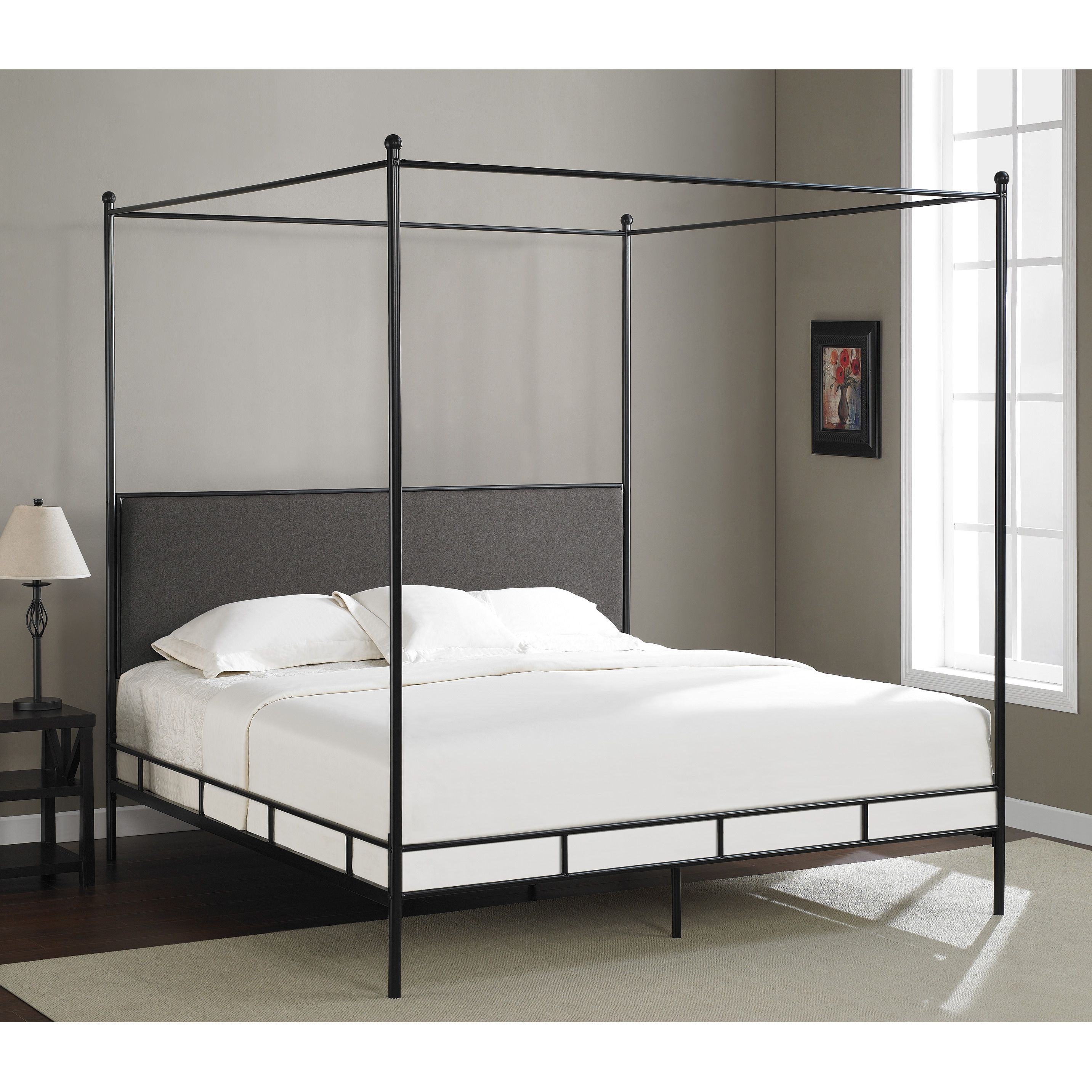 2e73eb3a407ccc Dimensions Lauren Grey King-size Metal Canopy Bed | Products | Metal ...