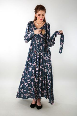 595858829bbed Floral Rich Print Front Wrap Maternity Dress | Maternity Clothing ...