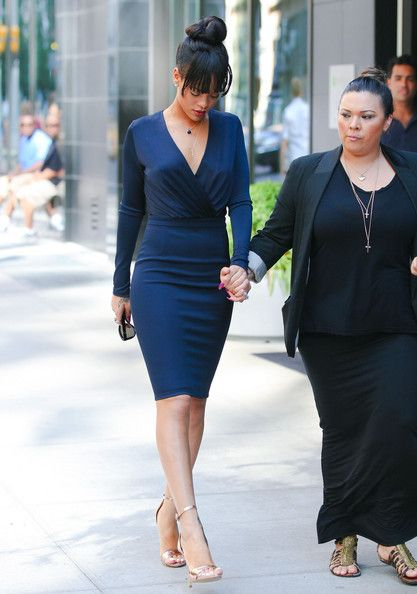 68f453cce2cb Seeing Double  Rihanna and Kim Kardashian in Navy Blue Long Sleeve ...