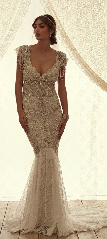 Embellished Fitted Bead Draped Sleeves Wedding Dress Wedding
