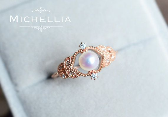 Adeline Pearl Engagement Ring Vintage Rose Akoya Pearl Ring