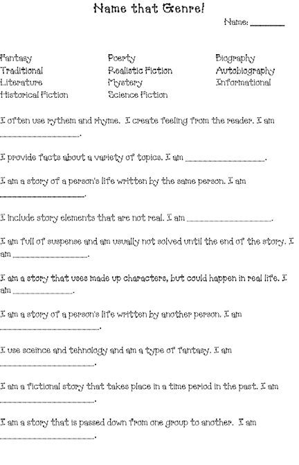 Printables Genre Worksheet 1000 images about genres on pinterest literature student and nonfiction text features