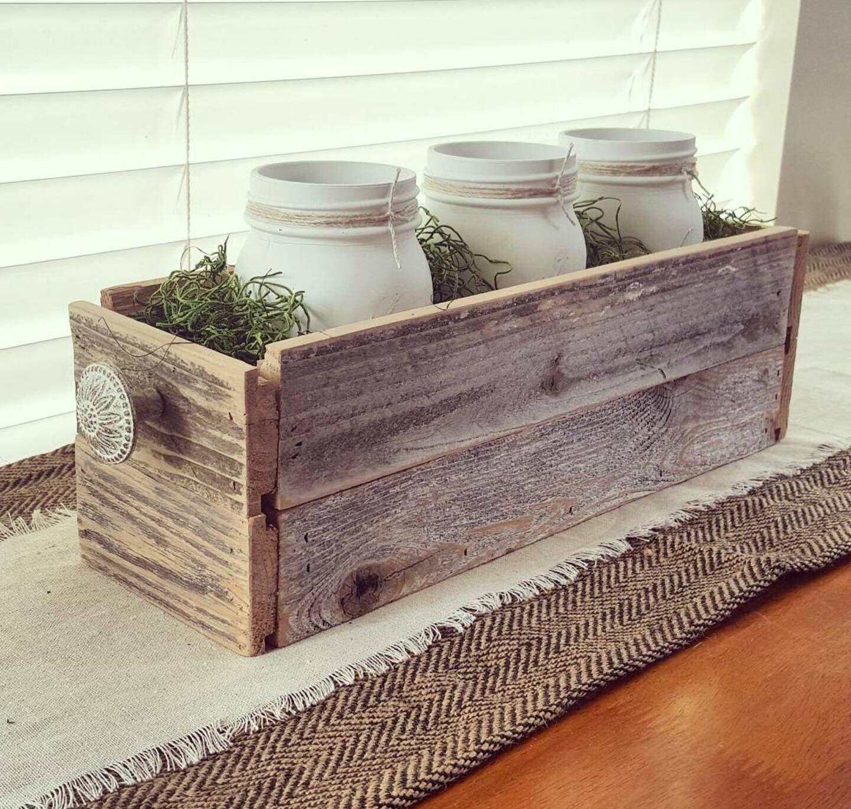 SALE Decorative Barnwood Box with Mason Jars by