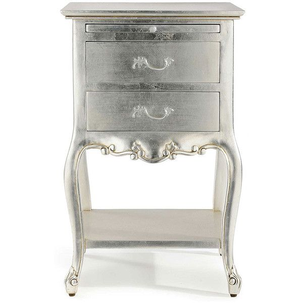 Cristal French Silver Leaf 2 Drawer Bedside ($605) ❤ Liked On Polyvore  Featuring Home