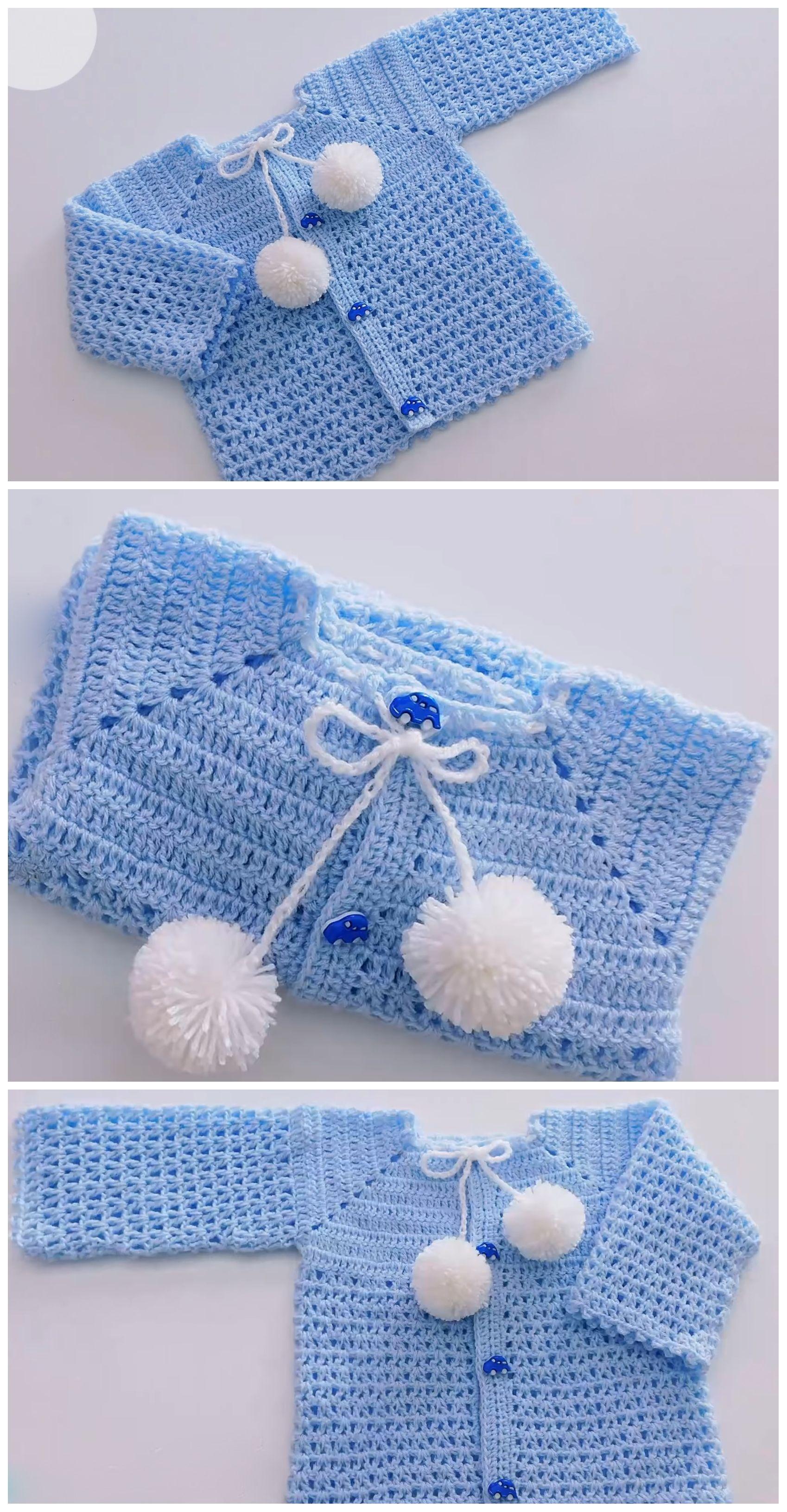 Crochet Easy Baby Sweater Cardigan - Crochet Ideas