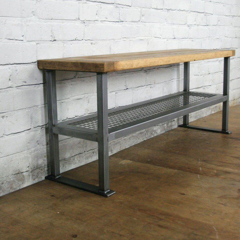 Rustic industrial shoe bench made to order muebles for Muebles industriales
