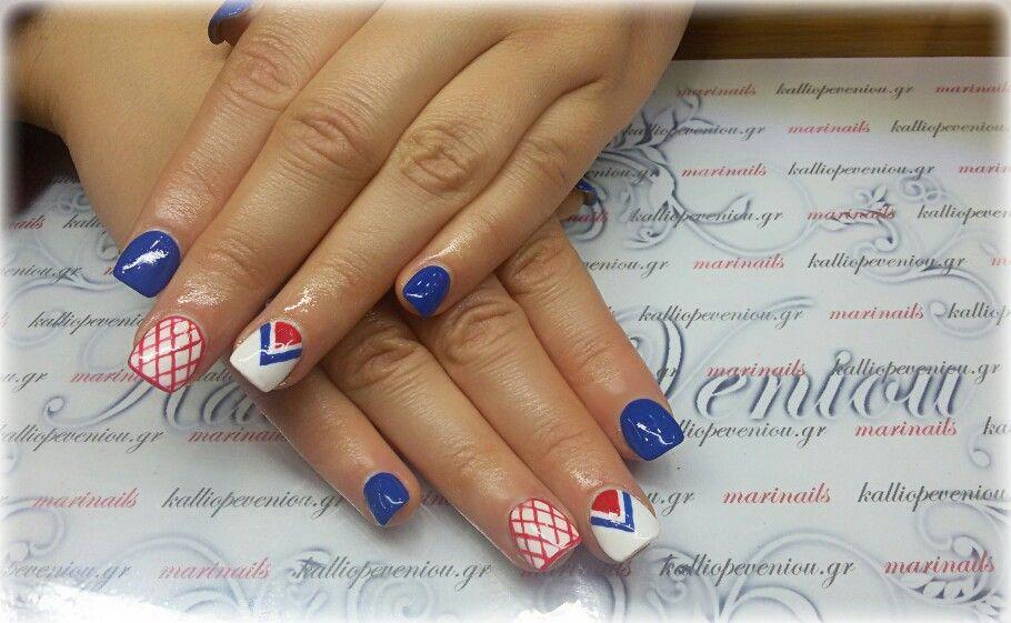 #nails #nailart #blueredwhite