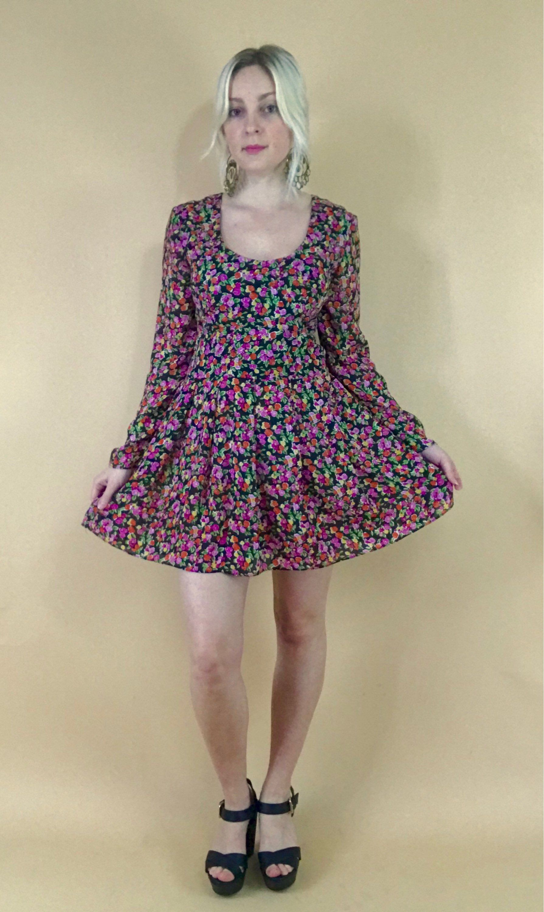 9dacd8abbf Vintage micro mini floral babydoll dress long sleeve 1990s grunge micro  floral garden print scoop neck empire waist dress 90s does 60s S M