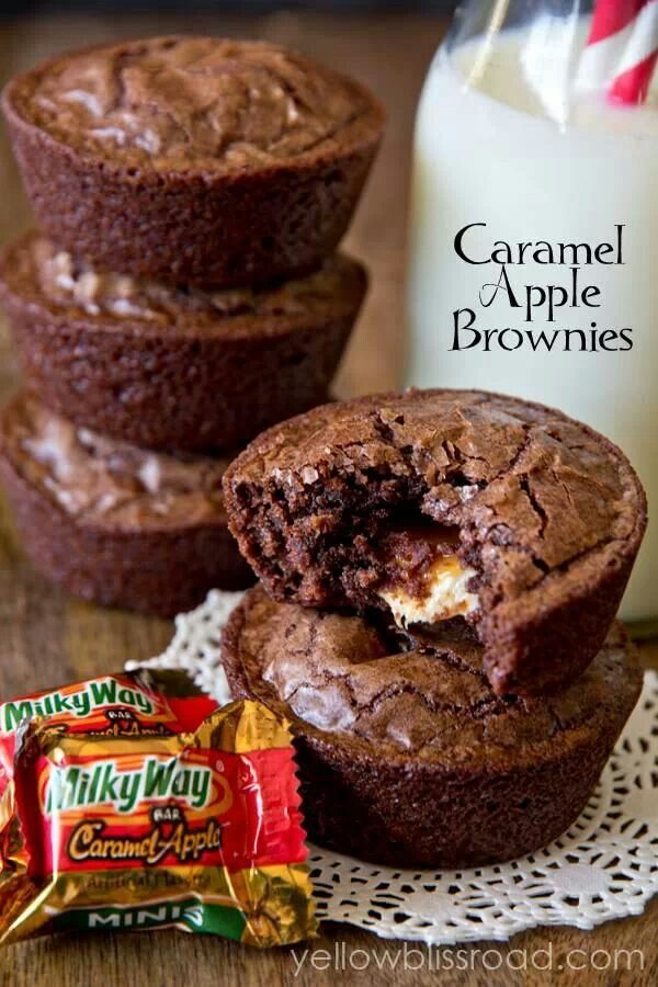 Caramel Apple Brownies - couldn't find the caramel apple milky ways, so I used regular milky ways. SO DELICIOUS. I could seriously eat all of these....maybe I did?!?