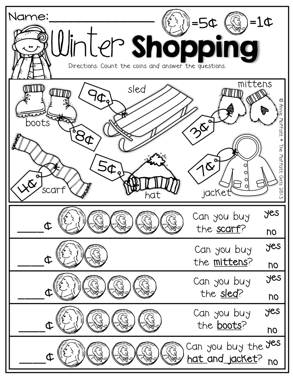 Winter Shopping With Nickels And Pennies Prefect For Adding Up To 10 And Comparing Numbers