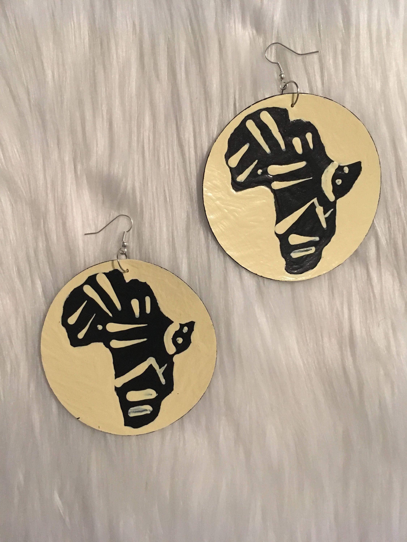 Tribal mud cloth design earrings Africa map