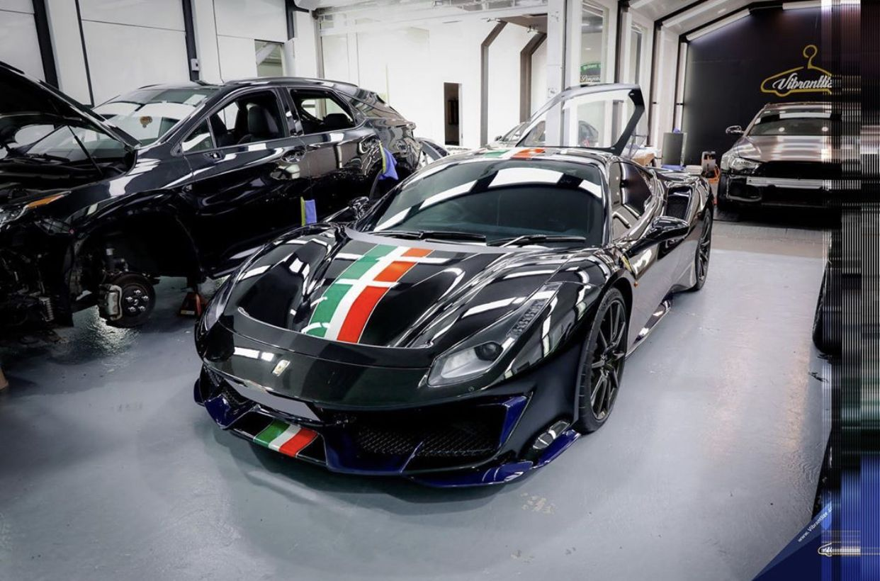 Ferrari 488 Pista Painted In Nero W Tricolore Central Stripes And