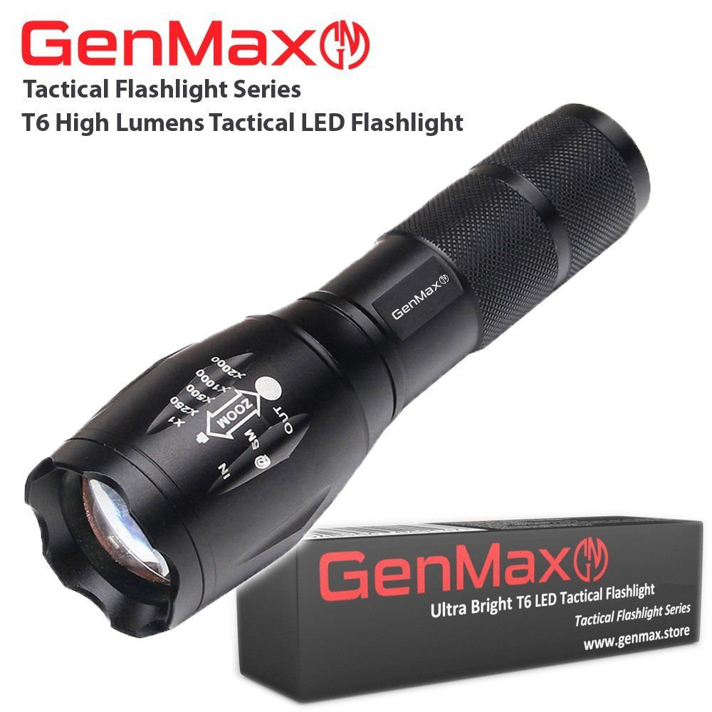 Genmax Super Bright Tactical Led Flashlight T6 High Lumens 5 Light Modes Max Med Low Strobe Sos Adjustable Z Tactical Led Flashlight Flashlight Boat Safety