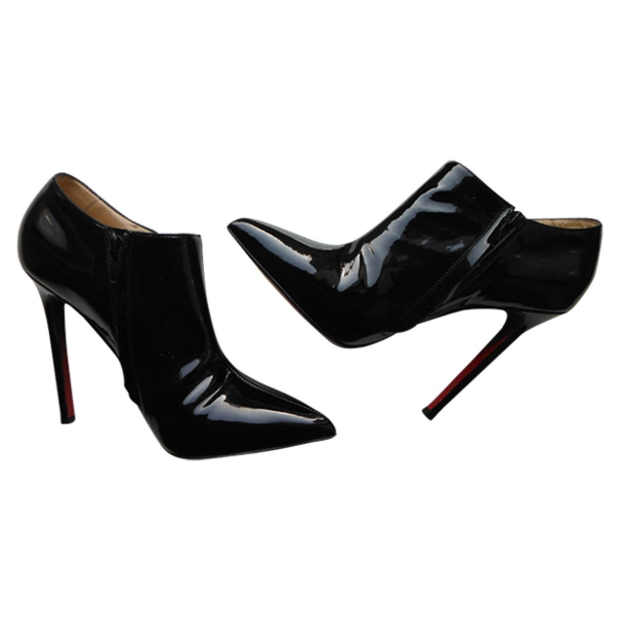 c7d480ae1bd9 Buy your black patent leather ankle boots CHRISTIAN LOUBOUTIN on Vestiaire  Collective