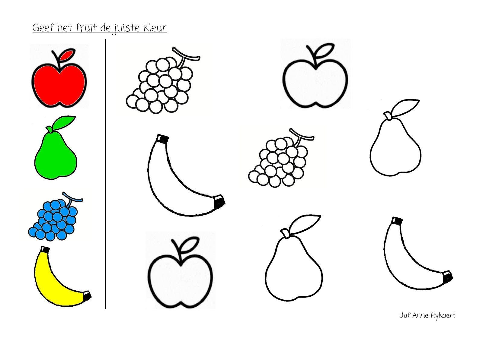 Kleur Het Fruit In De Juiste Kleur Knutselen Thema Eten Fruit Thema