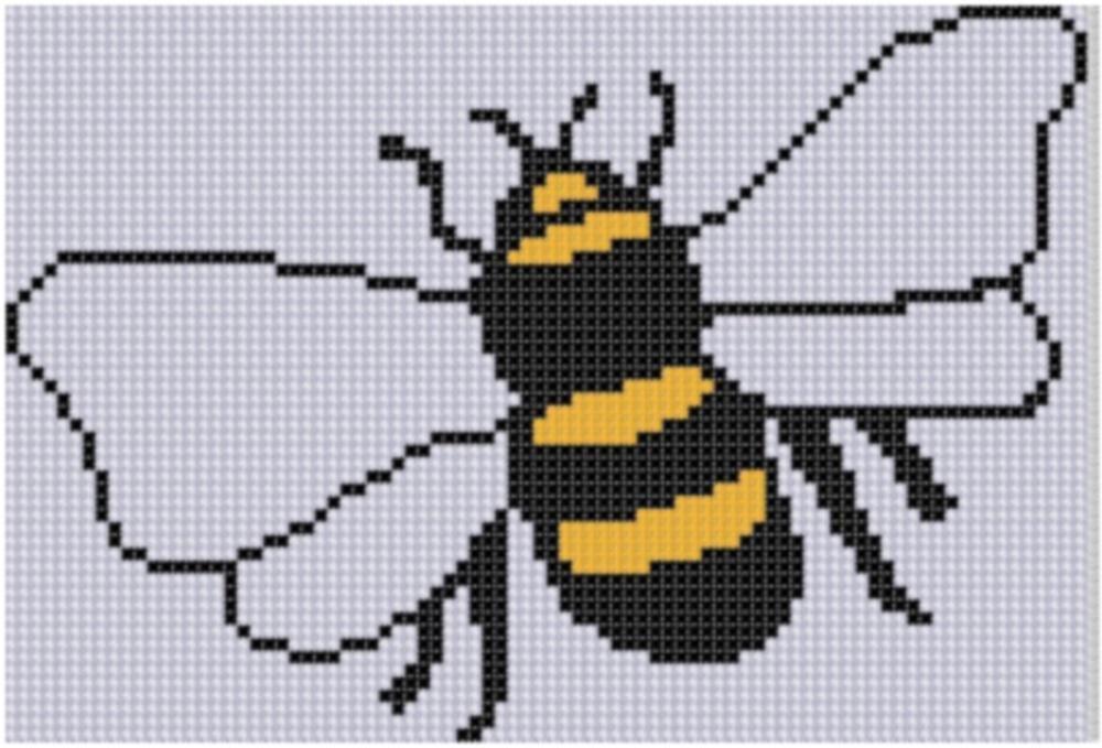 Bee 4 Cross Stitch Pattern | Bicolor, Punto de cruz y Puntadas