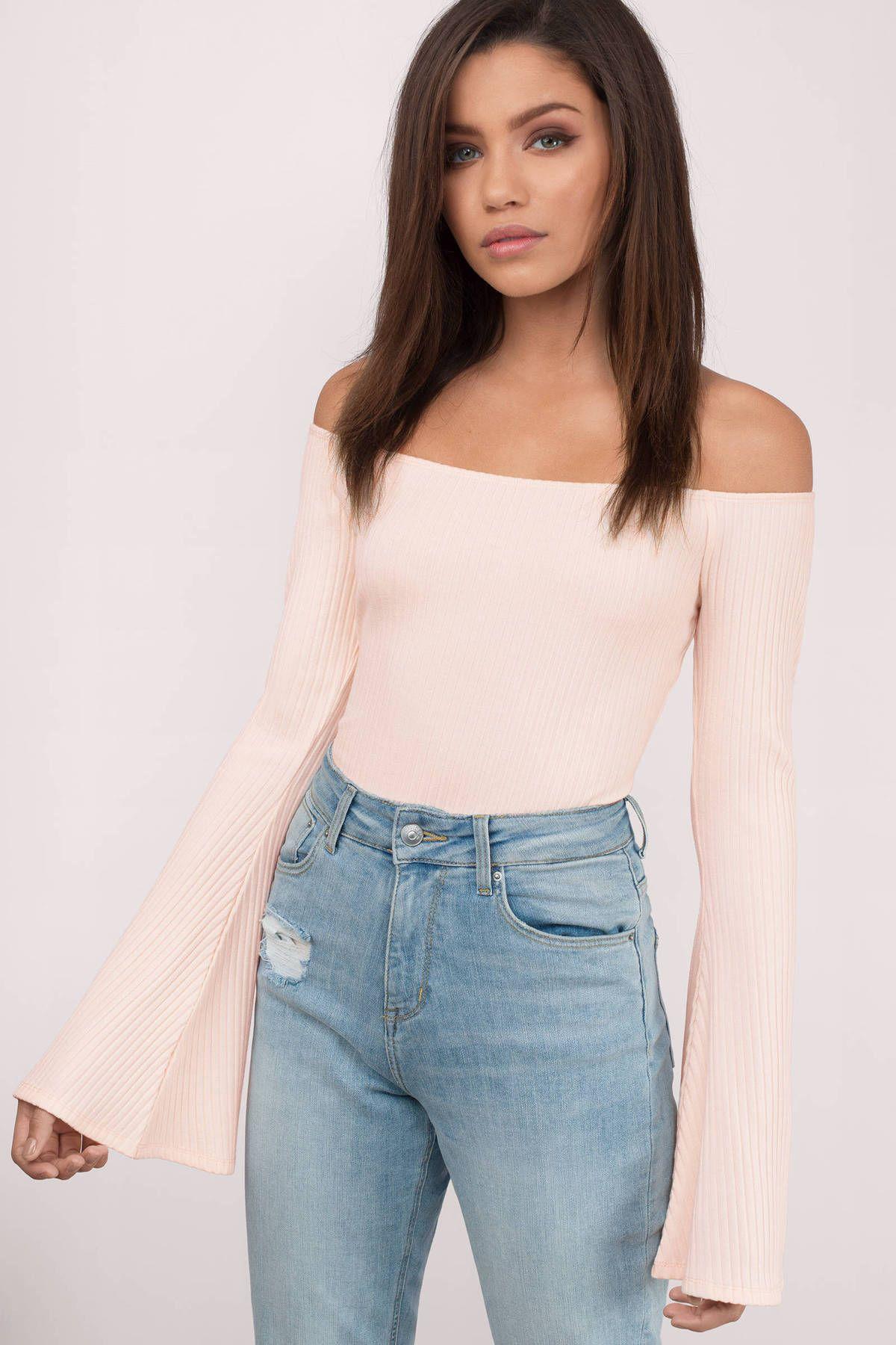 Estelle Off Shoulder Bell Sleeve Bodysuit at Tobi.com  shoptobi ... cac8718ec