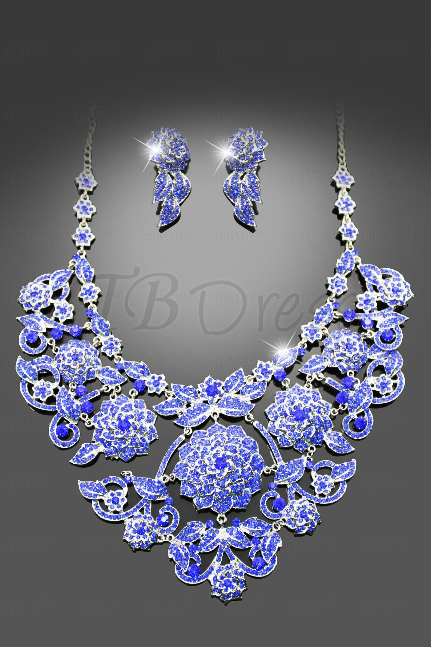 Fabulous Alloy with Rhinestone Wedding Jewelry Set(Including Necklace and Earrings)