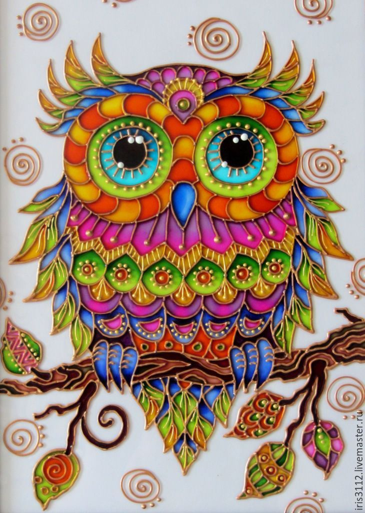 Amazing Rainbow Owl Pebeo Vitrail Drawing OwlsOwl DrawingsGlass Painting DesignsOwl PaperColorful