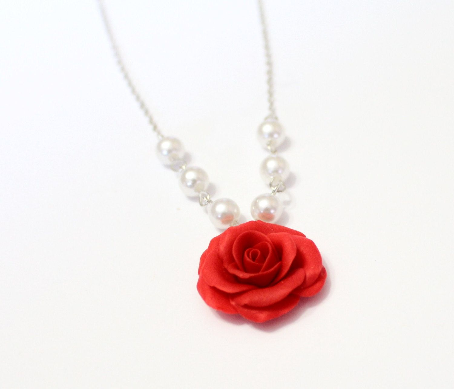 By Nikushjewelryart On Etsy Flower Girl Gifts Red Flower Necklace Wedding Jewellery Gifts