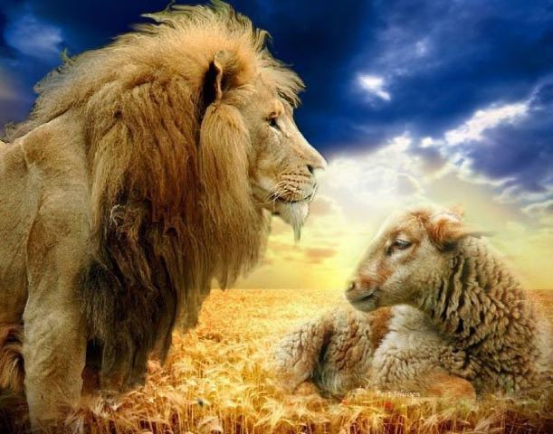 The Lion And The Lamb Worthy Is The Lamb Who Was Slain To Receive