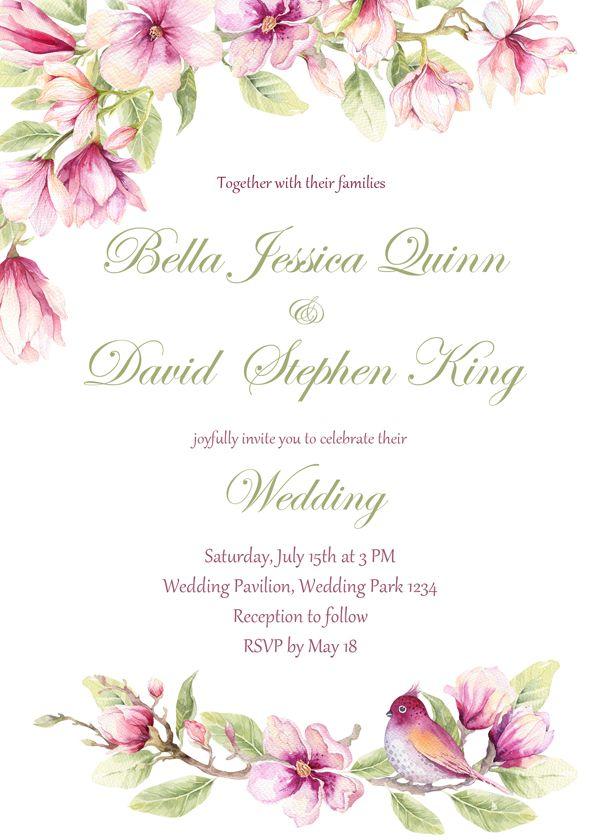 Floral Wedding Invitation Set Pink Magnolia Invite Set Elegant Invitation Floral Wedding Invitations Pink Bridal Shower Invitations Bridal Shower Invitations