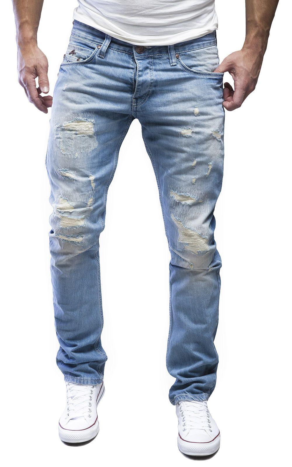 AMICA by MERISH Herren Straight Fit Destroyed Blue Jeans Hose Blau Neu J1154 6a296d07b54e