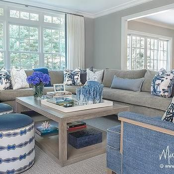 Gray Sectional With Blue Accents Florida Living Room Chic Living Room Living Room