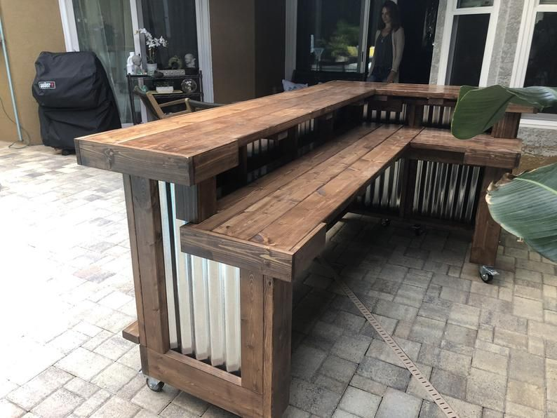 Walnut L Shaped Kitchen 8 X 6 2 Level Rustic Style Corrugated Metal Wood Outdoor Covered Or Indoor Bar In 2020 Rustic Outdoor Kitchens Outdoor Patio Bar Indoor Bar
