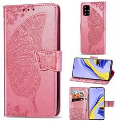 Embossing Mandala Flower Butterfly Leather Wallet Case for Samsung Galaxy A51 4G - Pink - Galaxy A51 4G Cases - Guuds