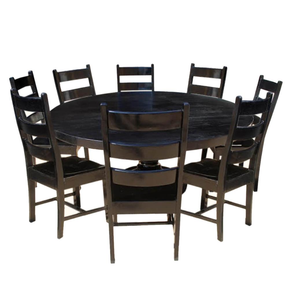 Nottingham Rustic Solid Wood Black Round Dining Room Table Set In 2020 Wood Dining Room Table Round Dining Room Table Dining Room Table Set