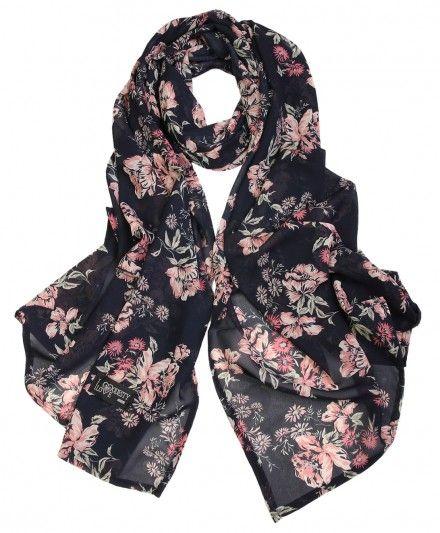 Black Floral Georgette Hijab Scarf