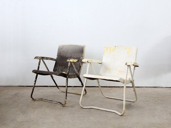 Vintage Lawn Chairs 1950s Metal Folding Chairs By 86home 이미지