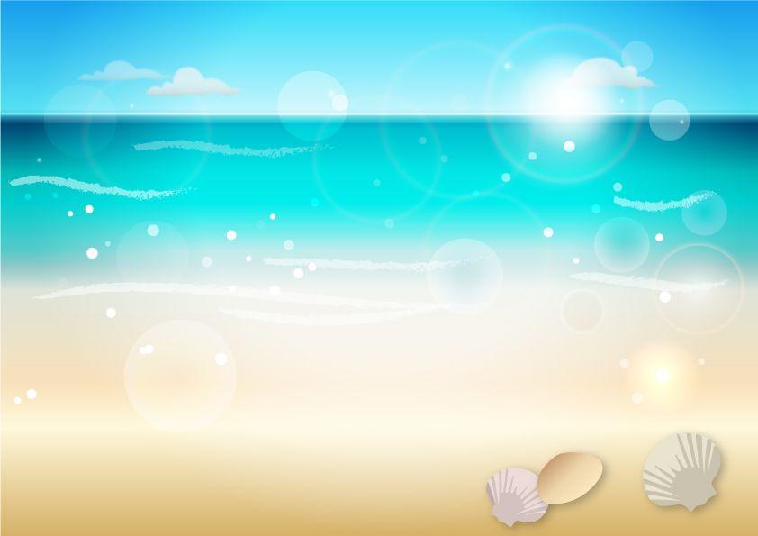 ビーチと貝殻の背景イラスト 夏 背景 貝殻 イラスト イラスト