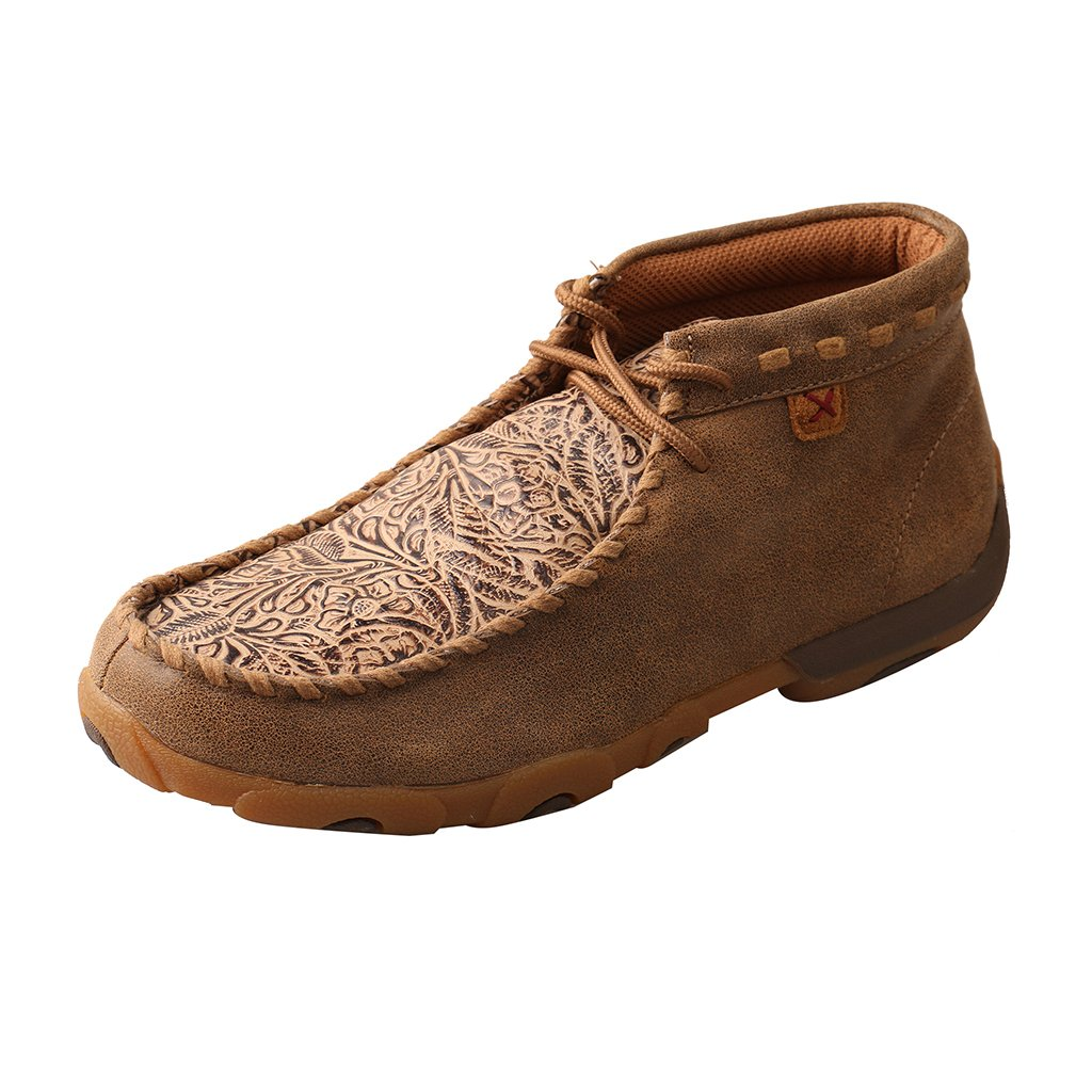 Twisted X Whipstitched Tan Floral Tooled Driving Moc