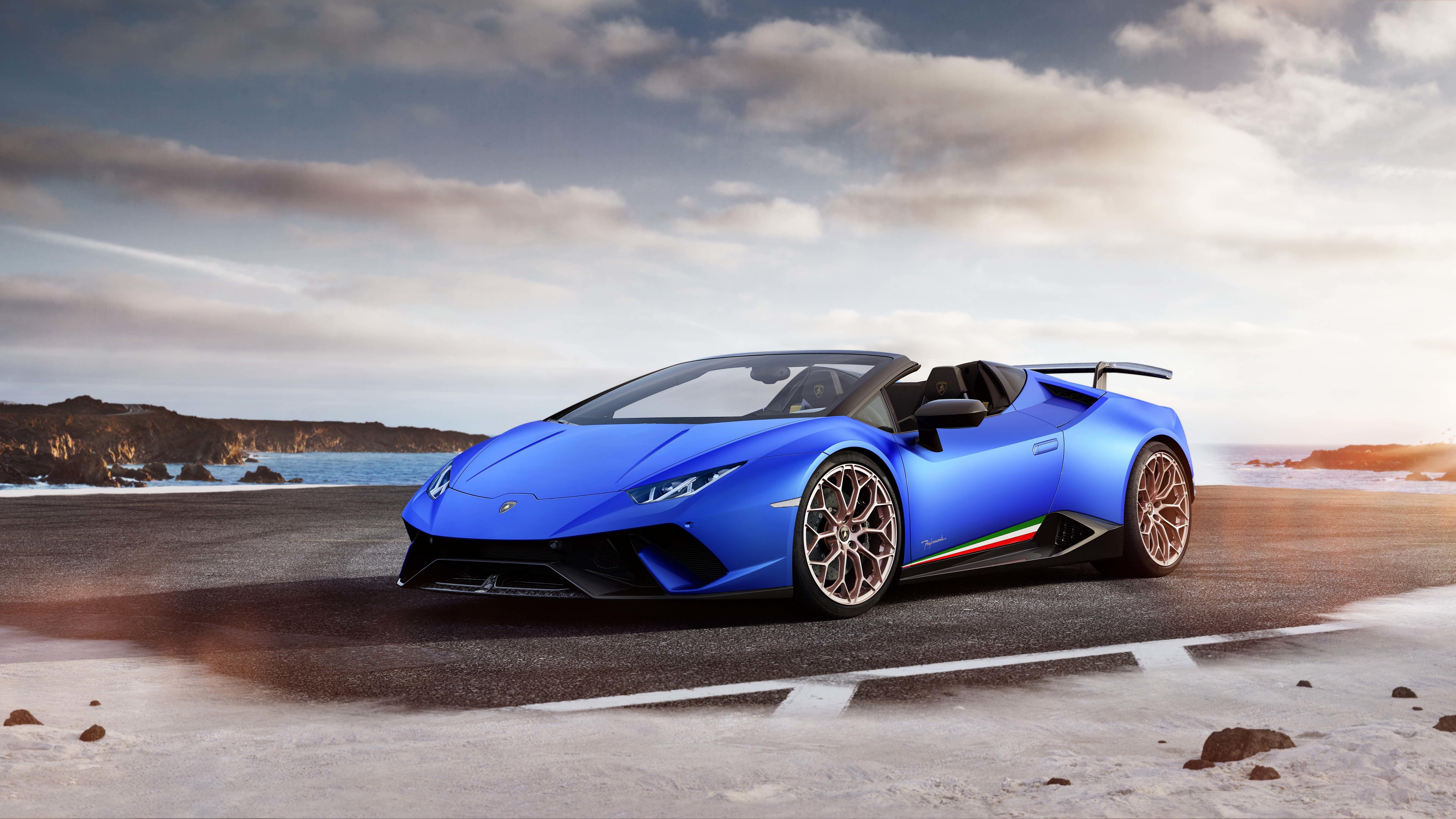 blue car huracan performante cabrio luxury