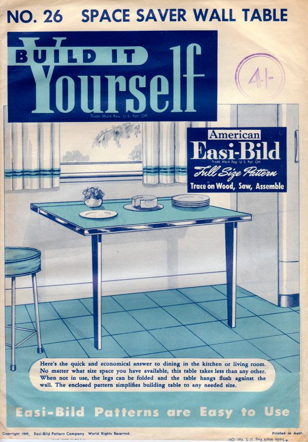 1949 Easi Bild Space Saver Wall Table Pattern   Mid Century DIY Furniture  Instructions.