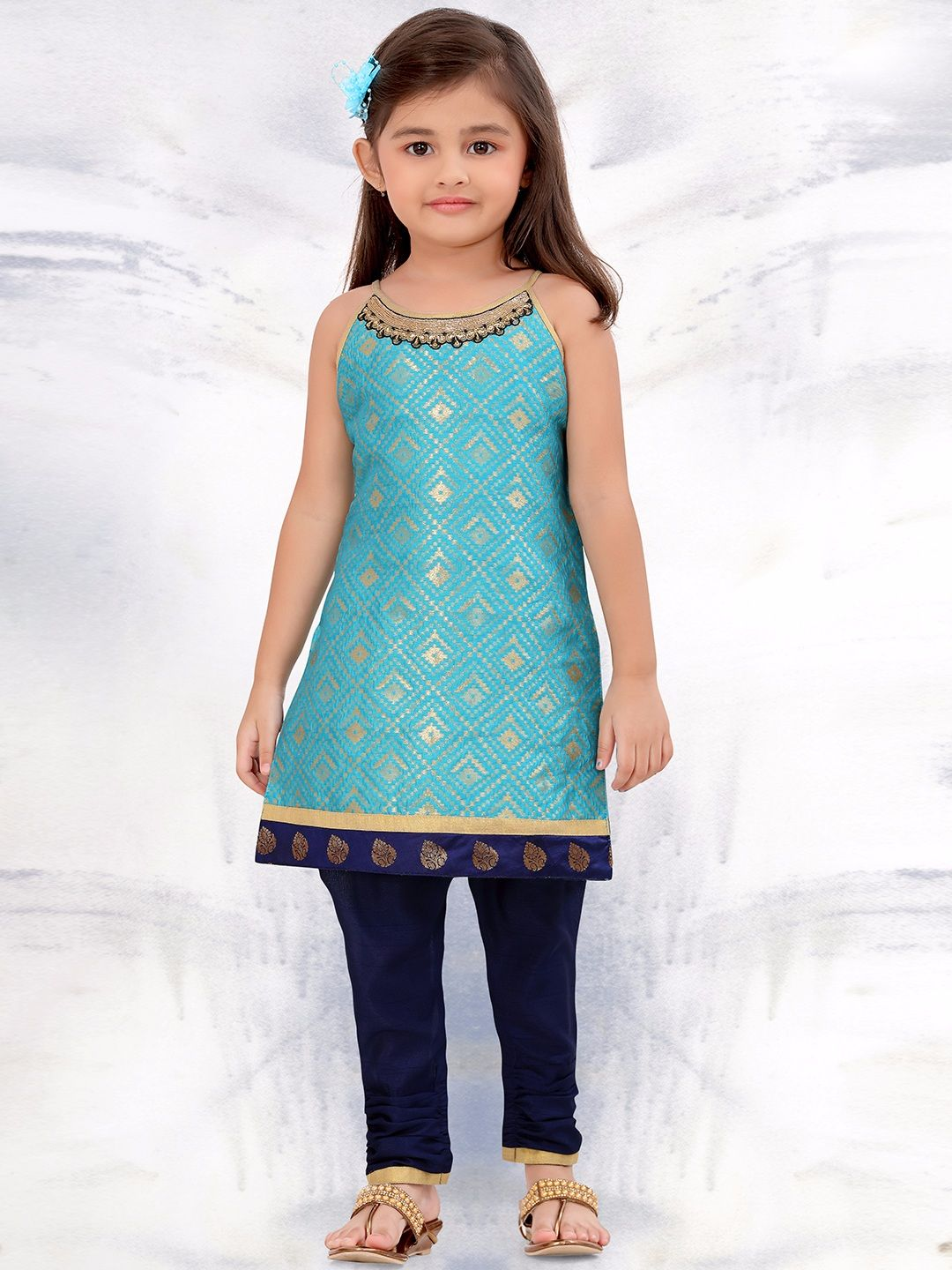 G3 Exclusive Festive Wear Raw Silk Blue Salwar Suit | Kids ethnic ...